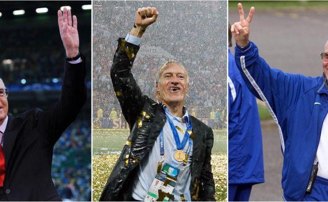 Trije izbranci, ki so pokorili svet v nogometnih čevljih in pozneje še v obleki: Franz Beckenbauer, Didier Deschamps in Mario Zagallo.