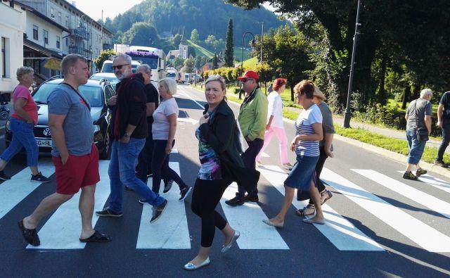 Na prehodu za pešce se je zbralo nekaj deset protestnikov. FOTO: Mateja Kotnik