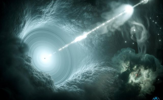 Shematski prikaz aktivnega galaktičnega jedra: snov pada proti supermasivni črni luknji in okoli nje tvori akrecijski disk, ki napaja dva nasprotno usmerjena visokoenergijska curka. Če eden od curkov kaže proti nam, pravimo takemu objektu blazar. VIR: Reuters