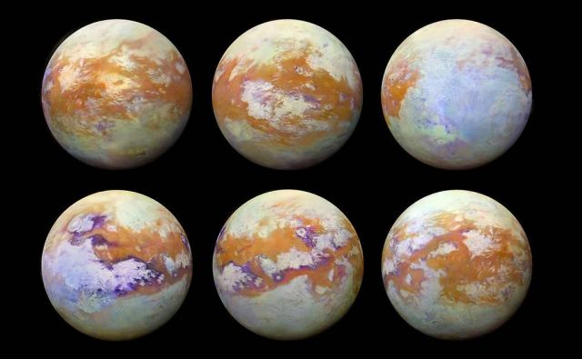 Titan, posnet z infrardečo kamero. FOTO: NASA/JPL-Caltech/Stéphane Le Mouélic, University of Nantes, Virginia Pasek, University of Arizona