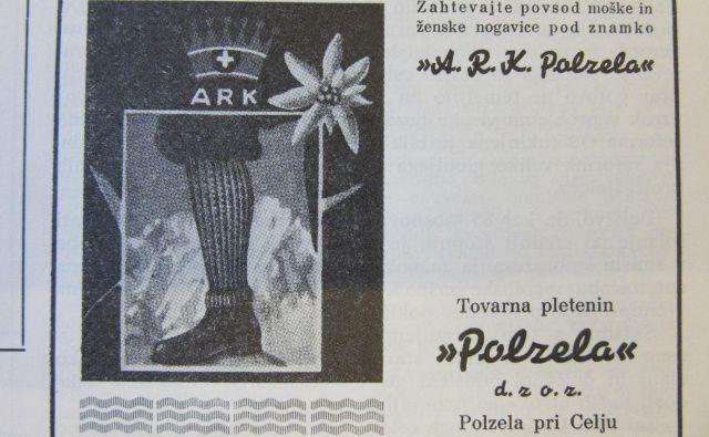 Oglas za Polzelo v Planinskem vestniku leta 1941, fotografija je iz tovarniškega glasila Lastovka.