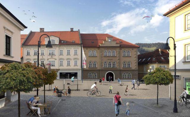 Po prenovi bo v središču mesta velik prostor, namenjen druženju in prireditvam. FOTO: Arhiv MOSG