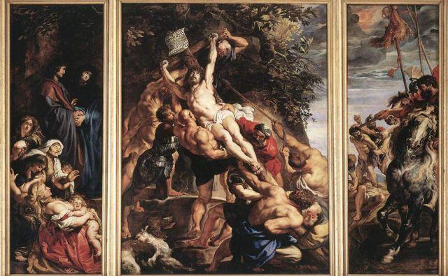 Med cenzuriranimi mojstrovinami Petra Paula Rubensa je tudi Triptih s postavljanjem križa iz leta 1611, ki že stoletja visi v katedrali v Antwerpnu. FOTO: Wikipedia
