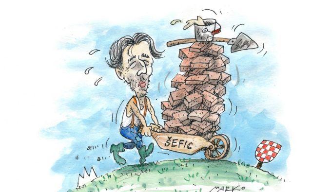 Boštjan Šefic je opozoril, da bo Slovenija, če hrvaška stran ne bo učinkoviteje zajezila nelegalnega prečkanja državne meje, posegla po ukrepih, ki si jih nihče ne želi. KARIKATURA: Marko Kočevar
