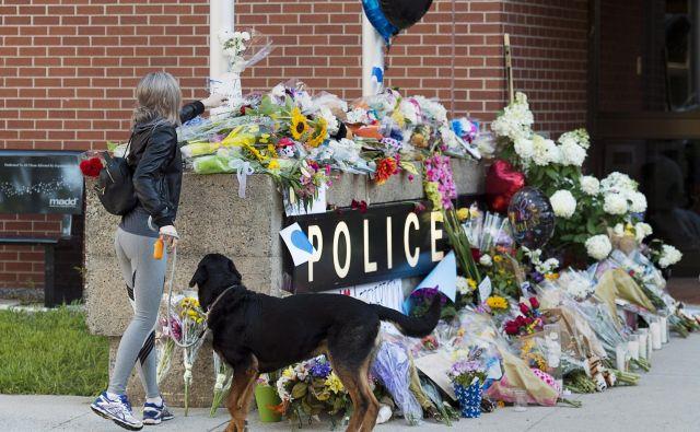 Cvetje, položeno na spomeniku pred policijsko postajo. Med štirimi ubitimi sta bila dva policista. FOTO: Andrew Vaughan/AP