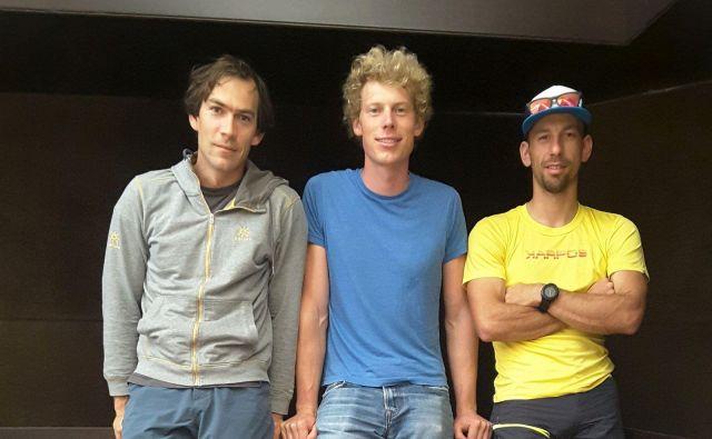 Aleš Česen, Tom Linvigstone in Luka Stražar. FOTO: Aleš Česen