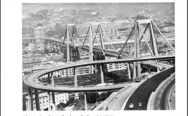 Fotografija viadukta v poročilu Riccarda Morandija leta 1979 FOTO: Webapi.ingenio-web.it