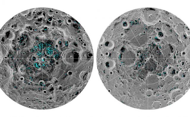 Slika prikazuje prisotnost in razpršenost ledu na južnem (levo) in severnem (desno) polu. Temne zaplate površja na sliki so hladnejša območja. Led je na najtemnejšem in najhladnejšem območju Zemljinega satelita. FOTO: Nasa