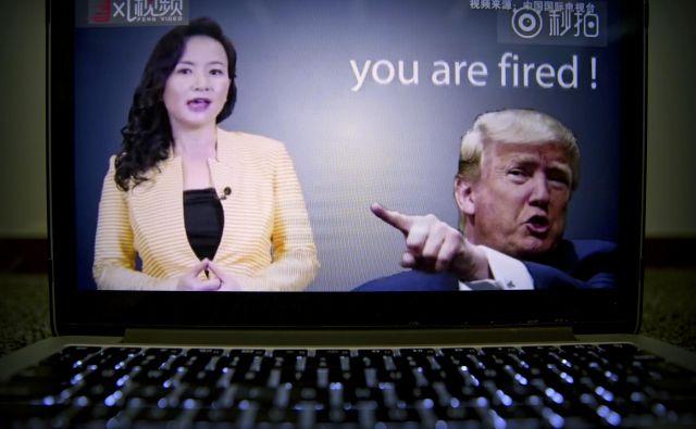 Kitajska državna televizija je izdelala video o ameriško-kitajskih trgovinskih napetostih, v katerem je na youtubu in drugih družbenih omrežjih zajedljiva do ameriškega predsednika. FOTO: AP