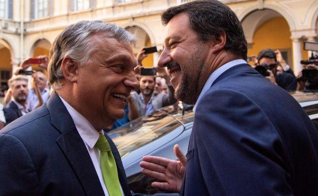 Torek je bil za italijansko zunanjo politiko konfuzen dan. V Milanu sta se srečala Matteo Salvini in Viktor Orbán. FOTO: Marco Bertorello/AFP