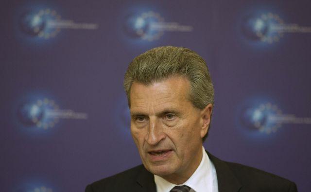 Günther Oettinger pravi, da bodo največji zmagovalci nesprejetja proračuna EU Vladimir Putin, Donald Trump in Recep Tayyip Erdoğan. FOTO: Reuters