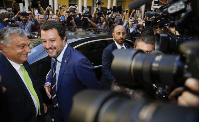 Madžarski premier Viktor Orbán in italijanski notranji minister Matteo Salvini Foto AP