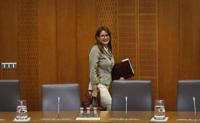 Odbor za pravosodje je predstavitev kandidatke za pravosodno ministrico Andreje Katič danes ocenil kot ustrezno. Imenovanje je podprlo sedem članov, štirje so bili proti. FOTO: Leon Vidic/delo
