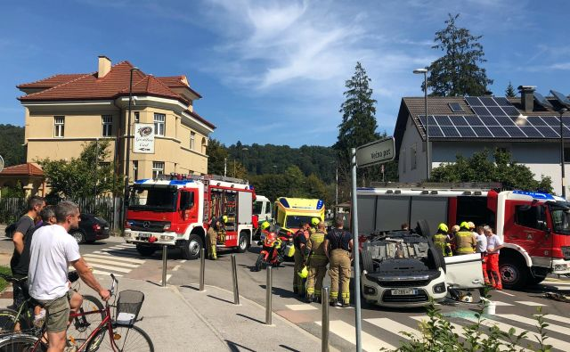 Prometna nesreča v Ljubljani. FOTO: Matej Družnik