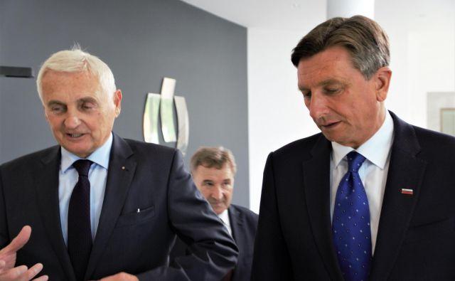 Predsednik upravnega odbora celjskega sejma Frac Pangerl in predsednik republike Borut Pahor, zadaj predsednik Obrtno podjetniške zbornice Slovenije Branko Meh, na otvoritvi 51. MOS. FOTO: Brane Piano