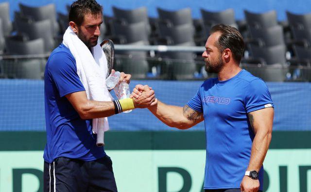 Prvi hrvaški lopar Marin Čilić in kapetan Željko Krajan, sicer tudi trener Polone Hercog, sta optimistična pred polfinalom.<br /> Foto Reuters