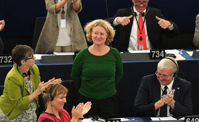 Judith Sargentini po glasovanju o sprožitvi postopka proti Madžarski v evropskem parlamentu. FOTO: AFP