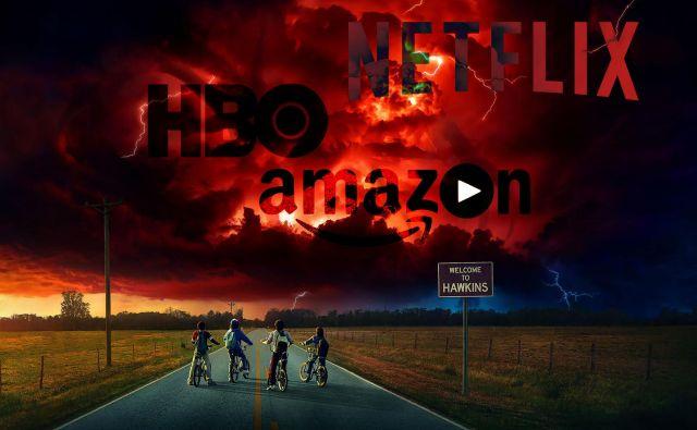 Največji ponudniki vsebin na zahtevo so Netflix, HBO in Amazon. Fotomontaža Leon Vidic