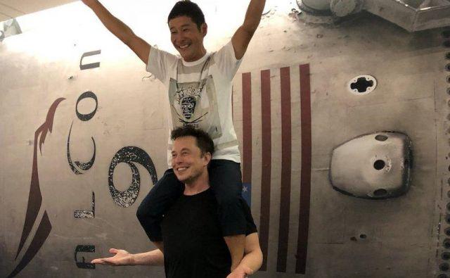 Jusaku Maezava in Elon Musk FOTO: Twitter/@elonmusk
