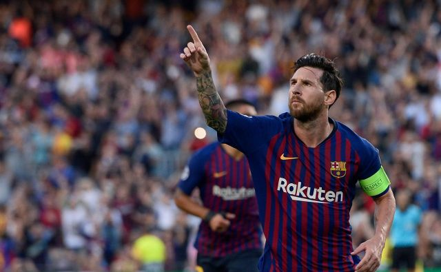 Lionel Messi je dosegel prvi gol v novi sezoni lige prvakov, potem pa še dva. FOTO: AFP