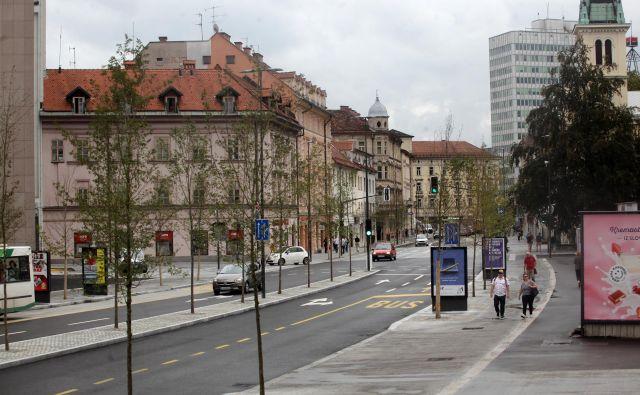 Prenovljena Gosposvetska ulica, eden zadnjihprojektov v Ljubljani, je občino stala okoli pet milijonov evrov. FOTO: Mavric Pivk