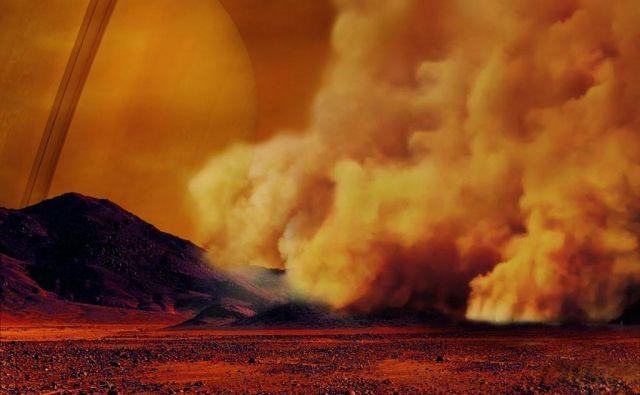 Umetniška upodobitev prašnega viharja na Titanu FOTO: IPGP/Labex UnivEarthS/University Paris Diderot