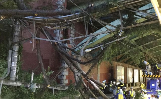 Tajfun je terjal dve smrtni žrtvi. FOTO: East Japan Railway/AFP
