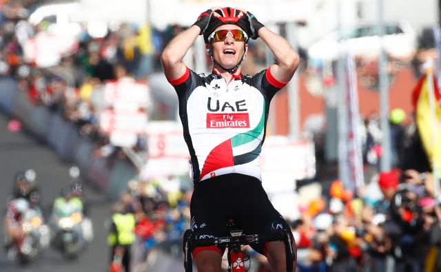 Jan Polanc je v karieri že dobil dve etapi Gira, na fotografiji slavje na Etni. FOTO: AFP