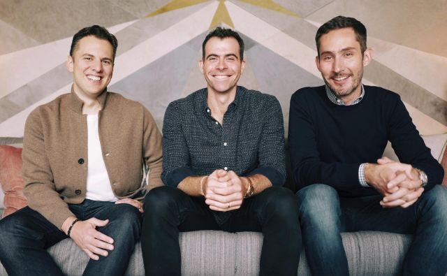 Adam Mosseri (na sredini), Kevin Systrom (desno) in Mike Krieger (levo). FOTO: Instagram/Facebook Inc./AP
