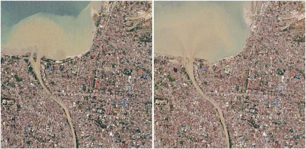 FOTO:Prej in potem: tako sta potres in cunami zravnala Sulavezi (FOTO)