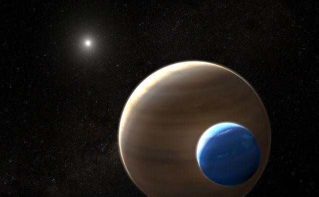 Umetniška upodobitev planeta in lune Kepler 1625b-i FOTO:Nasa, Esa