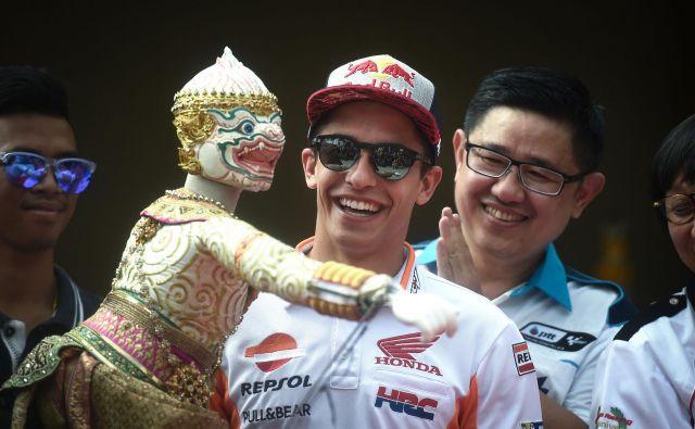 Marc Marquez se na Tajskem odlično zabava. FOTO: AFP