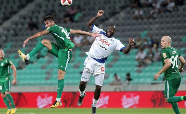 Jucie Lupeta je v prvem ljubljansko-celjskem dvoboju v sezoni v Stožicah igral za Celje in zabil gol Olimpiji. Foto Mavric Pivk