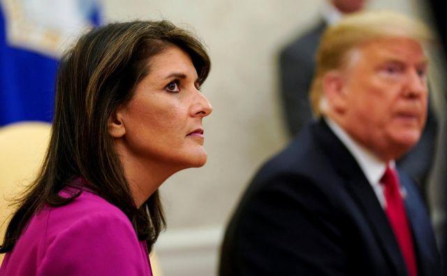 Ameriška veleposlanica pri ZN Nikki Haley je odstopila FOTO: Jonathan Ernst/Reuters