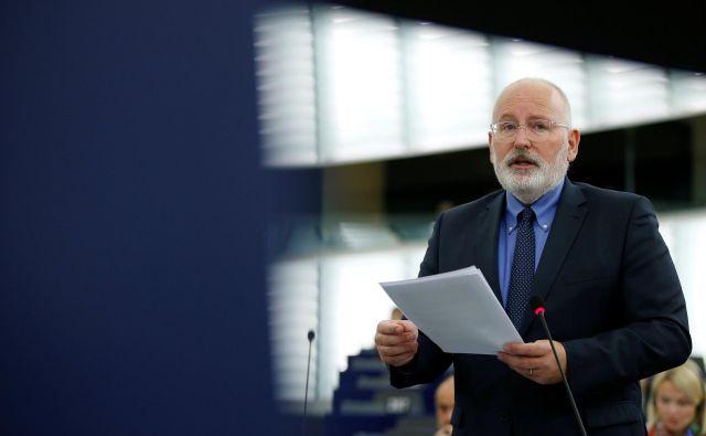 Frans Timmermans odločno zagovarja spoštovanje evropskih vrednot. FOTO: Reuters