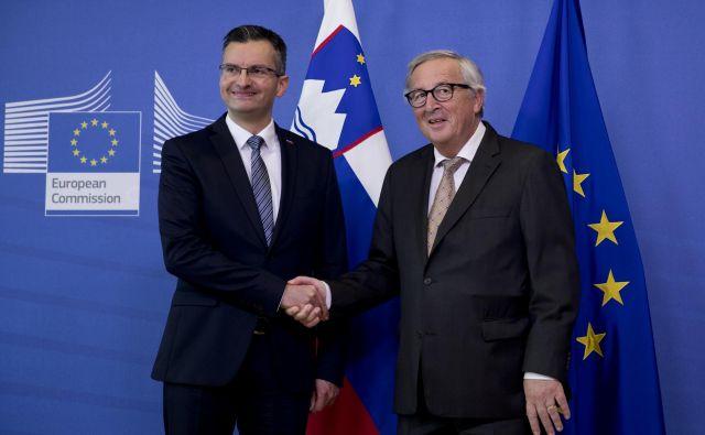 Jean-Claude Juncker in Marjan Šarec. Toje Šarčev prvi delovni obisk v tujini po prevzemu položaja. FOTO: Francisco Seco/AP