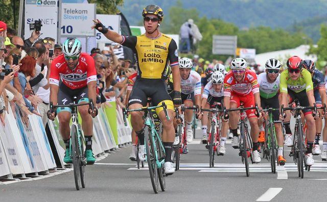 Dylan Groenewegen je letos dobil etapo tudi na dirki po Sloveniji. FOTO: Uroš Hočevar/Delo