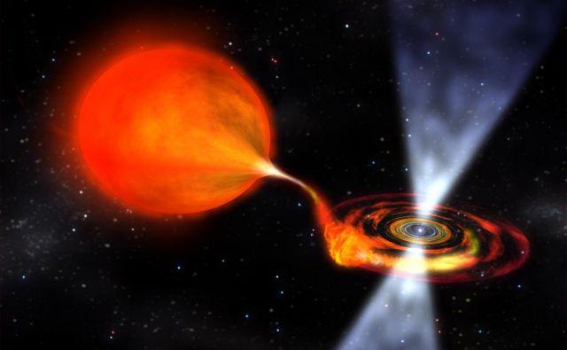 Zvezda, ki je eksplodirala kot supernova z oznako iPTF 14gqr, naj bi imela spremljevalno nevtronsko zvezdo, ki ji je s svojo gravitacijsko silo ukradla snov. Na sliki je ilustracija pretoka snovi z običajne zvezde na nevtronsko. Foto Nasa