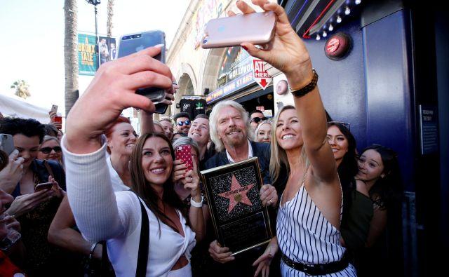 Eden najbogatejših ljudi na svetu, Richard Branson, je dobil svojo zvezdo na pločniku slavnih v Los Angelesu.Foto Mario Anzuoni Reuters