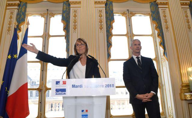 Françoise Nyssen in novi francoski minister za kulturo Franck Riester. Foto AFP