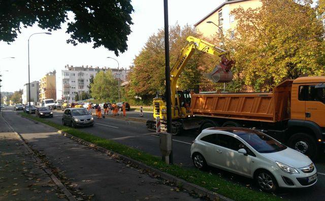 Danes so se začela pripravljalna dela za prenovo šišenske Drenikove ulice FOTO Aleš Stergar/Delo