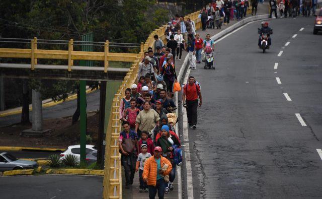 Skupina migrantov iz nekaterih srednjeameriški držav se počasi promika proti severu. FOTO: Johan ORDONEZ / AFP
