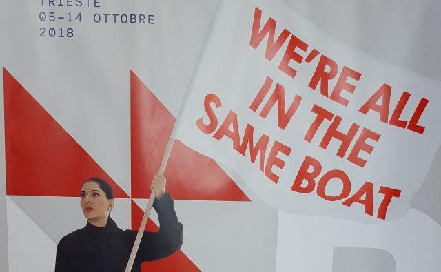 Sporen plakat Barcolane je zasnovala Marina Abramović. Foto Boris Šuligoj
