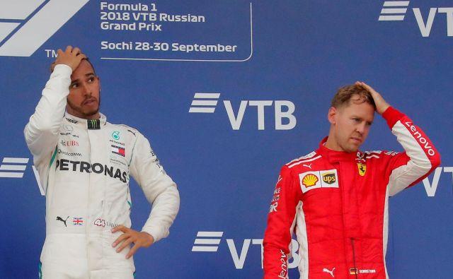 Lewis Hamilton in Sebastian Vettel imata pred VN ZDA povsem različne skrbi. FOTO: Reuters