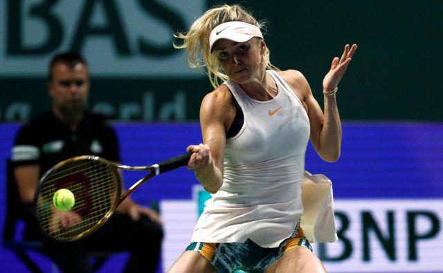 Jelina Svitolina se je razveselila uvodne zmage, novinarsko konferenco pa morala prekiniti zaradi vrtoglavice.<br /> FOTO: Reuters