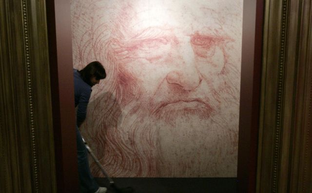 Avtoportret Leonarda da Vincija. FOTO: Francois Lenoir/Reuters