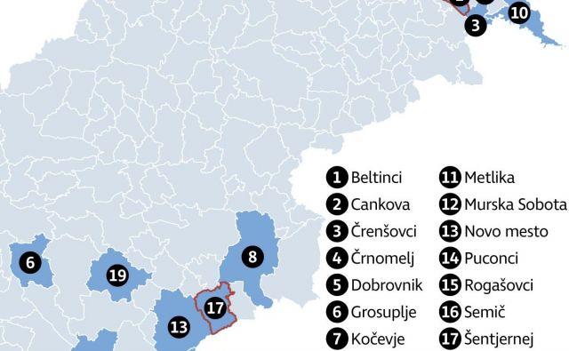 Zemljevid 20 občin, ki jim zakonodaja nalaga, da imajo v občinskih svetih tudi predstavnike romske skupnosti. Infografika: Delo
