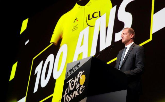 Direktor dirke Christian Prudhomme je predstavil dirko, ki bo v znamenju jubileja rumene majice. FOTO: Reuters