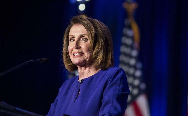 Nancy Pelosi med nagovorom po objavi volilnih rezultatov. FOTO Afp