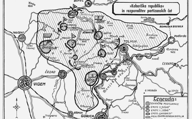 Zemljevid Kobariške republike Vir knjiga Bazoviška brigada